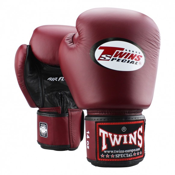 Twins rokavice za boks, kickbox, MT Air Wine Red - goveje usnje